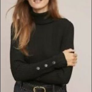Anthropologie Fitted Turtleneck Ribbed Sweater